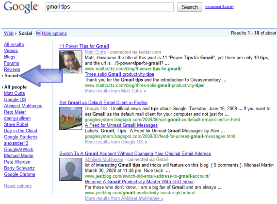 Google Social Search Results