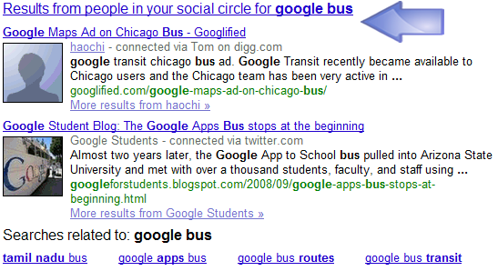Google Social Search SERPS for a Search with Google Bus