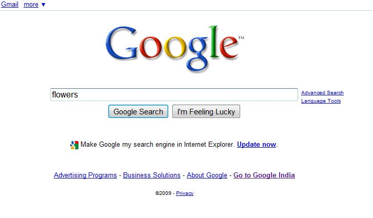 Google Homepage and New Search Box as on 10/9/09