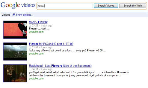 Old Format of Search Box and Text for Google Video Search